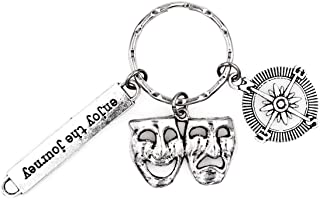 It's All About.You! Enjoy The Journey Compass Comedy Tragedy Keychain 2W