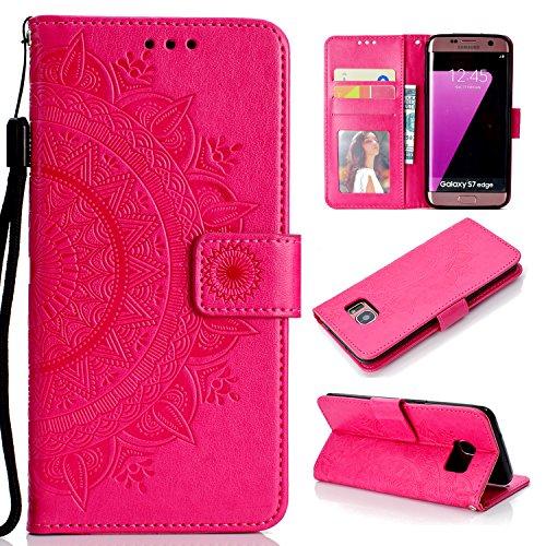 Snow Color Galaxy S7 Edge Hülle, Premium Leder Tasche Flip Wallet Case [Standfunktion] [Kartenfächern] PU-Leder Schutzhülle Brieftasche Handyhülle für Samsung Galaxy S7Edge/G935F - COHH050600 Rot