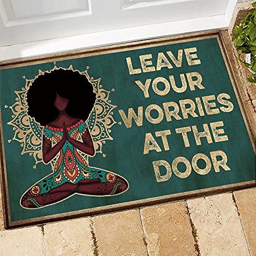 """TIANTURNM Felpudos Entrada casa Felpudo Afro de Yoga Deja Tus Preocupaciones en la Puerta Alfombrilla de Bienvenida Decoración Tapete Decoracion Hogar Regalos 16""""x24"""""""
