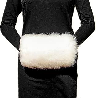 Wed2BB Cream White Faux Fur Hand Muffs, Women Warm Faux Rabbit Fur Muffs