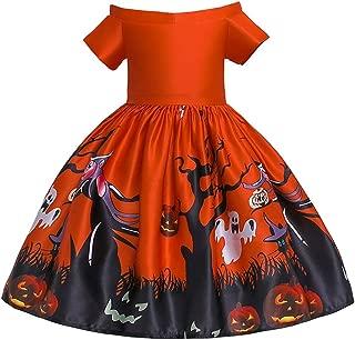 OBEEII Toddler Kid Girl Halloween Pumpkin Bat Ghost Devil Printing Swing Dress Princess Fancy Costume Cosplay Party