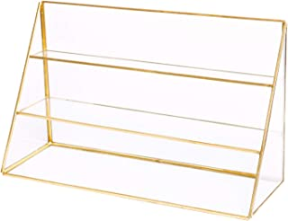 3 Layers Glass Makeup Organizer Shelves Cosmetic Storage Holder Antique Countertop Glass Beauty Display, Gold Spin Large Capacity Holder for, Earrings, Ear nails, Necklaces, Rings, Jewelry, Lipsticks
