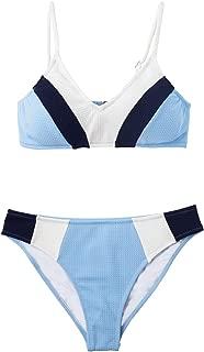 CUPSHE Women's Blue Navy White V Neck Color Block Bikini