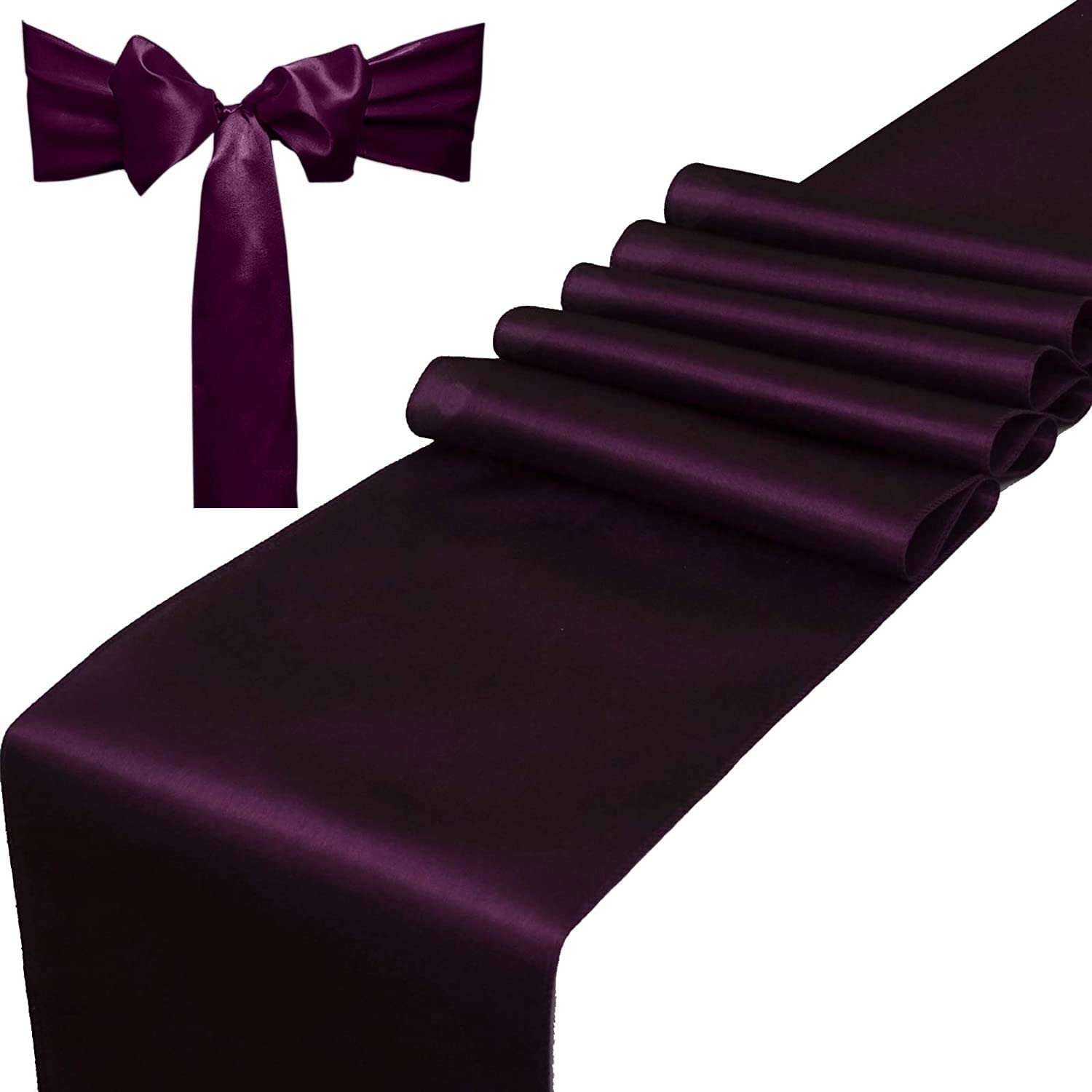 THE DECOR TEX Satin Table Runners 12 x 108 inch for Wedding Banquet Reception Party Decoration, Party Table Runner (Combo 2 Table Runner + 10 Chair Saches, Eggplant)