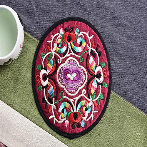 Heze Posavasos de Tela Bordados Redondos creativos de Elementos Chinos más