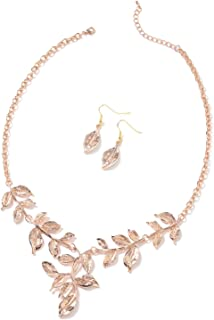 """Shop LC ION Plated Yellow Rose Gold Stainless Steel Leaf Earrings Necklace for Women Fashion Costume Jewelry Gifts Set 22"""""""