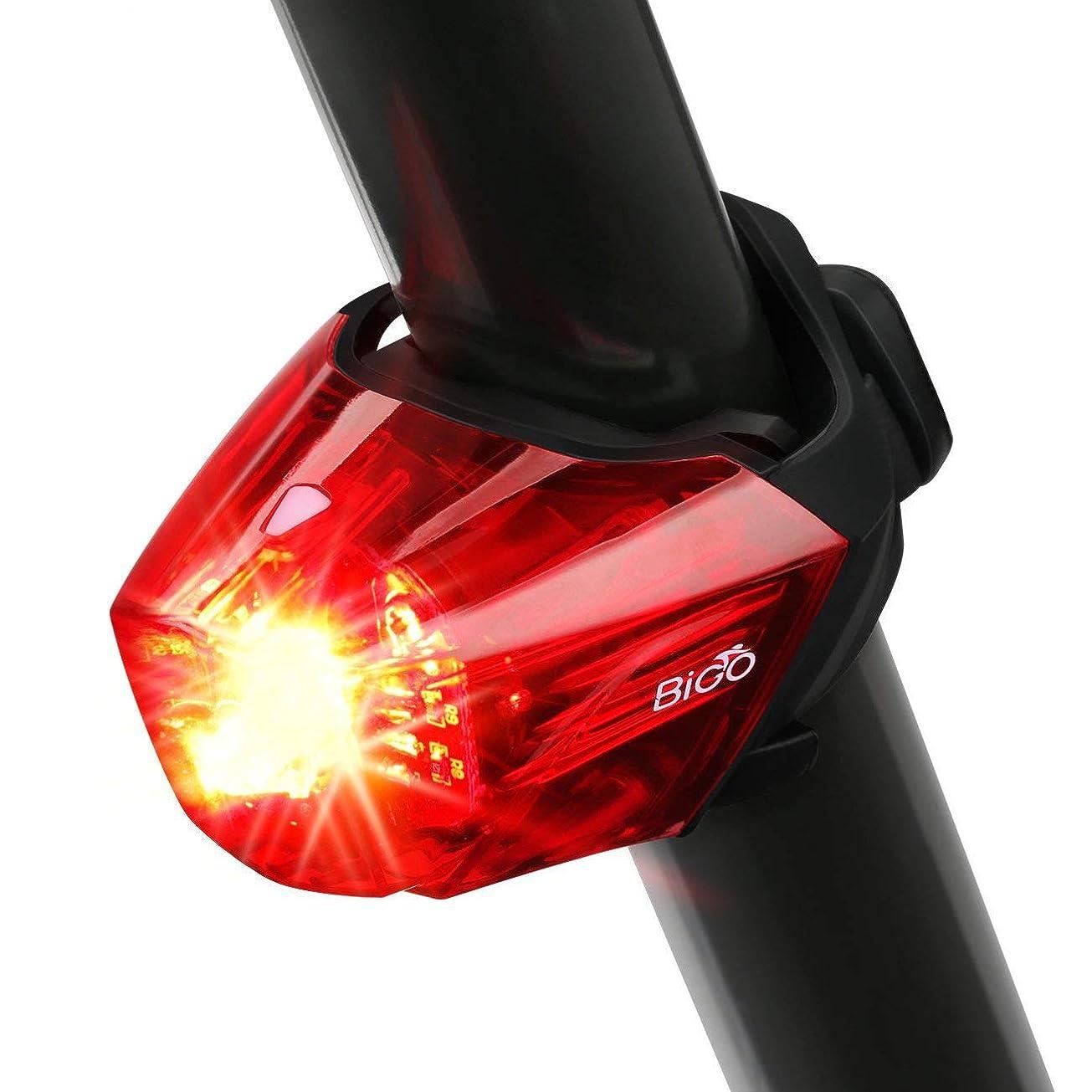 モノグラフ衝突コース記憶BIGO テールライト 自転車 リアライト USB充電式 セーフティーライト 超高輝度 IPX4防水 自転車用 led持続点灯 ライト