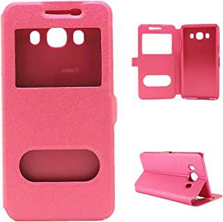 Protective Case Compatible with Samsung Compatible Samsung Galaxy J7 Solid Color PU Leather with Stand Double Open Window Silk Pattern Protective Case Phone case (Color : Pink)