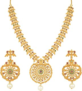 Antique Finish Floral Design Crafted Round Pendant Necklace with Earrings Set Ethnic Wedding Wear Jewelry for Indian Women