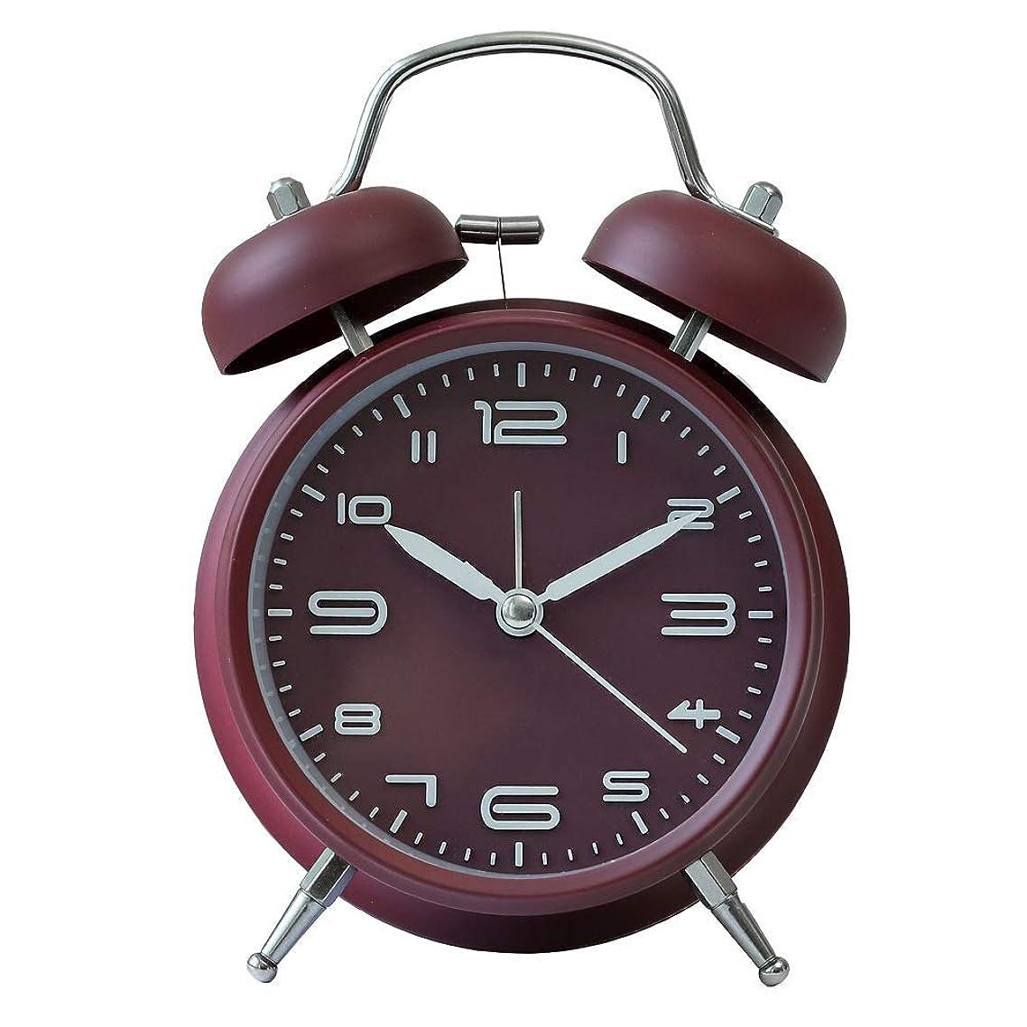 戻る被るフィールド目覚まし時計 4インチ ベル音 ツインベル アナログ連続秒針 ナイトライト付 3D置き時計 入園 入学祝い ブラック (レッド)