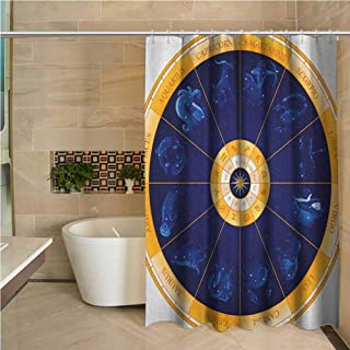 Astrology Fun Shower Curtain for Master Bathroom,Kid`s Bathroom,Guest Bathroom 72x84 inch Natal Birth Chart Zodiac Horoscope Signs in Wheel Shape with Dots Stars Blue White and Gold