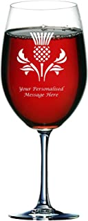 Personalised Engraved Wine Glass (Holds a Whole Bottle of Wine) With Scottish Thistle Design