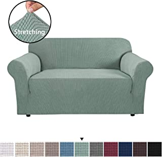 H.VERSAILTEX High Stretch Loveseat Cover 1 Piece Stylish Furniture Cover/Protector with Spandex Jacquard Checked Pattern Fabric Loveseat Sofa Covers for Living Room, Machine Washable, Sage