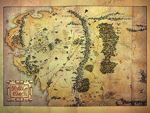 60 x 80 cm de el Hobbit de la Tierra Media Mapa Impresión de Lienzo