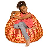 Big Comfy Bean Bag Chair: Posh Large Beanbag Chairs with Removable Cover for Kids, Teens and Adults - Polyester Cloth Puff Sack Lounger Furniture for All Ages - 27 Inch - Scrolls Red and Yellow