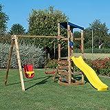 SavinOutdoor Parco Giochi in Legno Torre Singola con Tetto + Arrampicata + Altalena Doppia con N.1 Sedile a Gabbia e N.1 Sedile Libero Standard