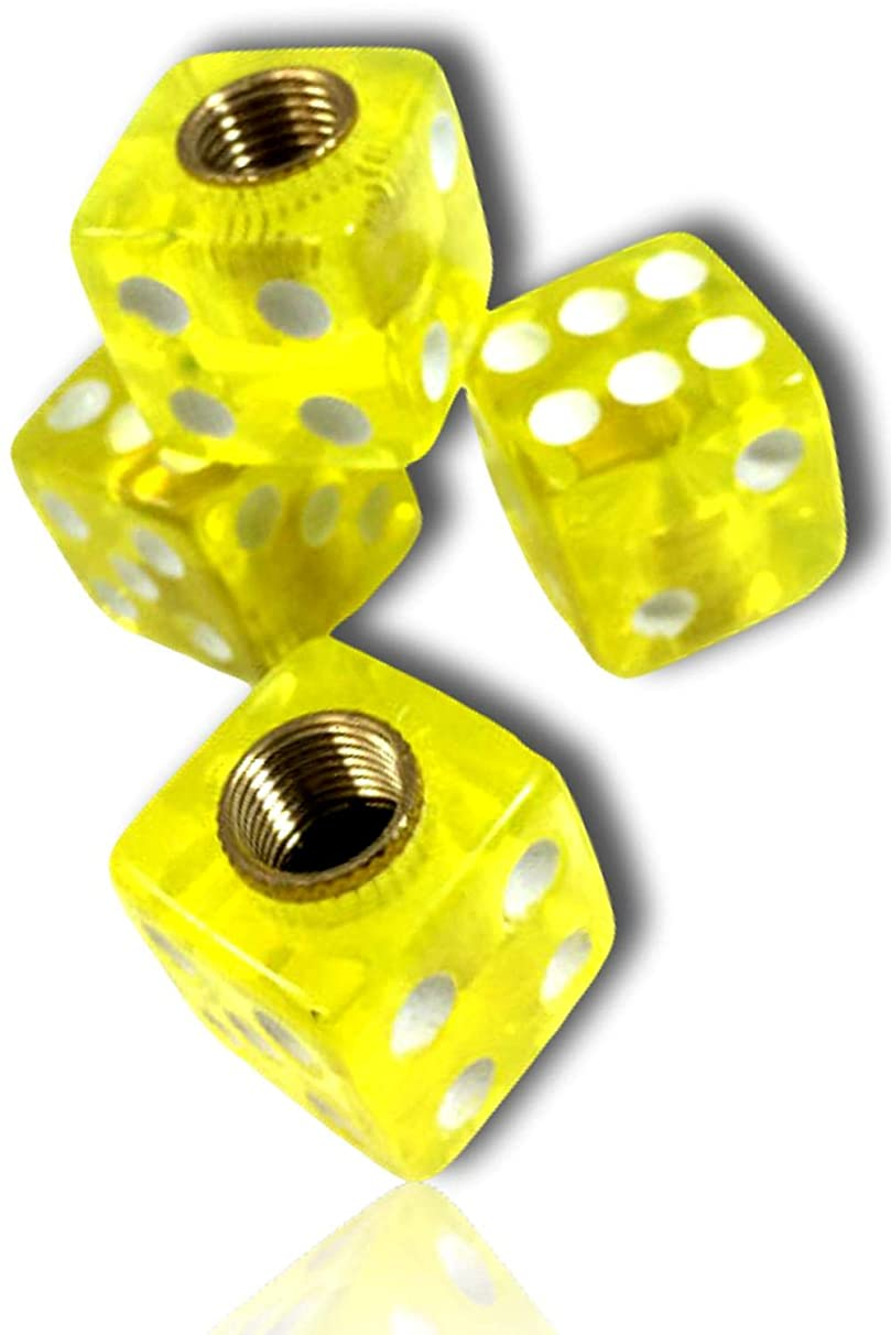 (4 Count) Custom Tire Wheel Rim Valve Stem Dust Cap Cover Seal w/ Easy Grip Texture, Made of Rust Proof Aluminum Metal w/ Rounded Corner Game Dice Translucent See Through {Yellow, White} + Certificate