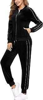 Akmipoem Damen Zweiteiliger Sweatanzug mit Wasserfallausschnitt Sweatshirt und Skinny lange Hose