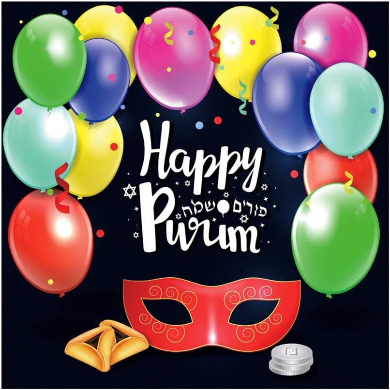 Leowefowa 10x10ft Happy Purim Backdrop Vinyl Cartoon Red Mask Colorful Balloons Hamantaschen Cookies Coins Illustration Photography Background Jewish Fiesta Carnival Party Banner Photo Shoot Prop