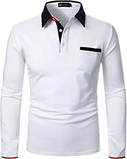 STTLZMC Mens Long Sleeve Polo Shirts with Contrasting Collar Casual Golf Poloshirt Top
