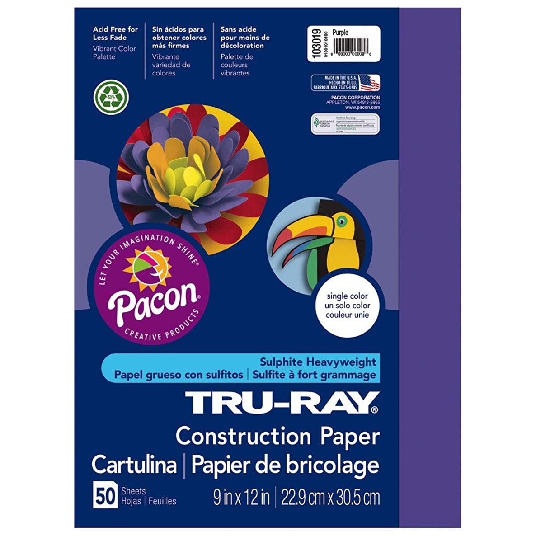 Tru-Ray Heavyweight Construction Paper, Purple,  9