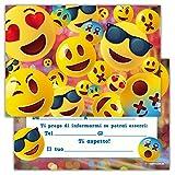 Partycards Set di 12 inviti Compleanno Biglietti invito per Festa Compleanno per Bambini e Adulti in Italiano - Emoji Emoticon