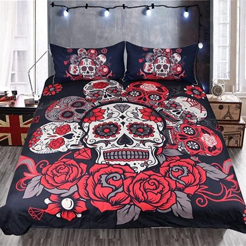 WFQTT Juego de cama de 3 piezas con diseño de calavera, funda nórdica y 2 fundas de almohada sin núcleo (A1,155 x 220 + 50 x 75 cm)