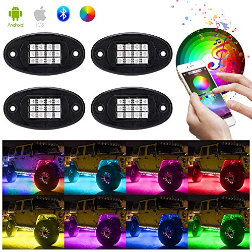 Haofy Auto RGB LED Rock Lights Kit, 4 Pods Multicolor Hell Neon Light mit Bluetooth App Steuerung Und kabelloser Controller, Wasserdichtes Beleuchtungs Kit mit Timing Funktion, Musikmodus, Bremsmodus