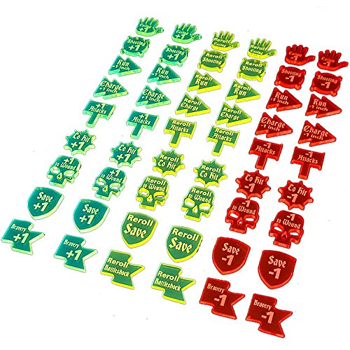 LITKO Buffs & Debuffs Token Set Compatible with AoS 1st & 2nd Edition, Multi-Color (54)