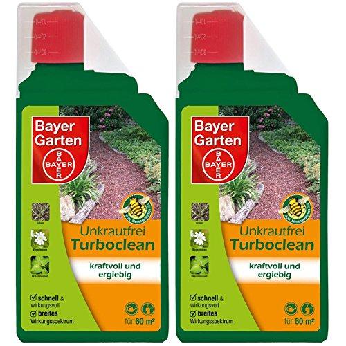 Gardopia Sparpaket: 2 x 1 Liter Bayer Garten Unkrautfrei Turboclean Unkrautvernichter Totalherbizid Plus Zeckenzange mit Lupe