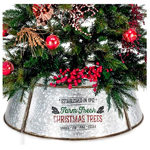 KIBAGA Farmhouse Christmas Tree Collar - Authentic Easy Set Up 30' Tree Ring/Tree Skirt Decorates Your Home for The Holidays