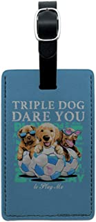 Triple Dog Dare You Puppies Soccer Rectangle Leather Luggage Card ID Tag