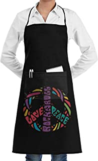 Peace, Love & Rock'n Roll Apron Lace Unisex Mens Womens Chef Adjustable Polyester Long Full Black Cooking Kitchen Aprons Bib with Pockets for Restaurant Baking Crafting Gardening