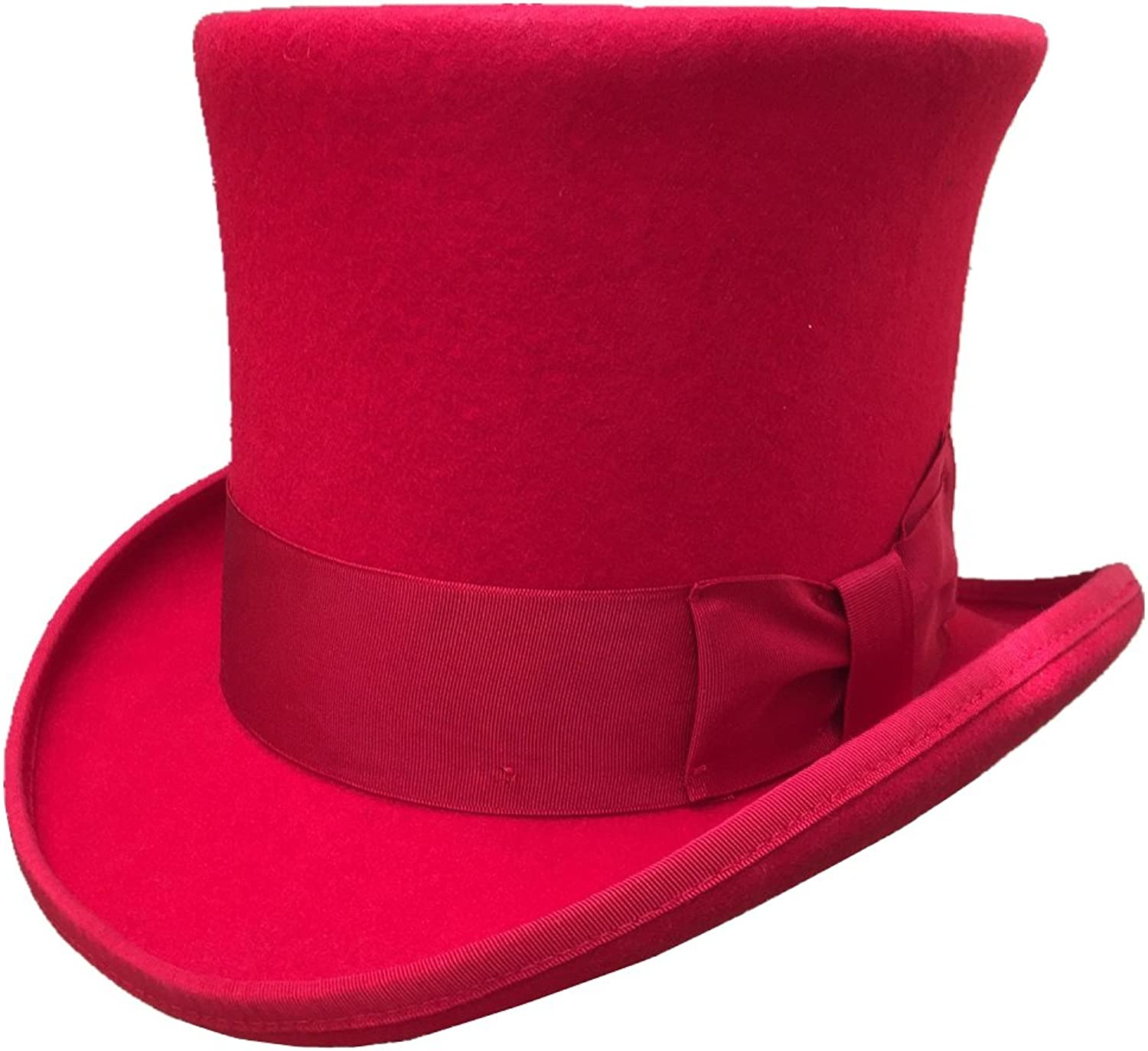 Red Wool Felt Top Hat Victorian Mad Hatter 7  Tall Magic Topper Hats for Women