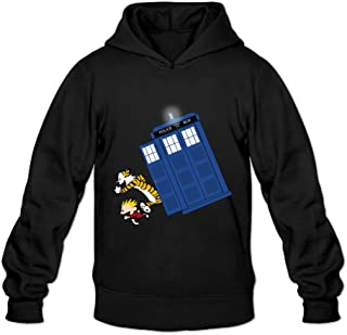 DVPHQ Men's High-quality Calvin And Hobbes Doctor With Who Sweater Black