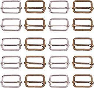 PH PandaHall 20pcs Metal Slide Buckle Triglides Slides Webbing Belt Buckles Handbag Bag Strap Adjuster for Fasteners, Strap, Backpack DIY Accessories