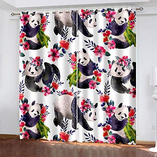 Cortinas Opacas 3D Flores De Panda Cortinas con Ojales Dormitorio Habitación Infantil Decoración Moderna Aislante Y Ruido Reducción Poliéster 230X255Cm