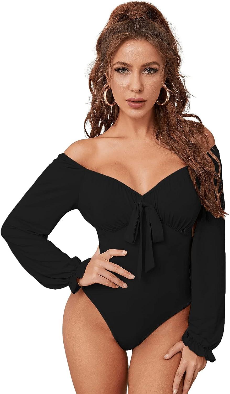 SOLY HUX Women's Off Shoulder Tie Front Long Sleeve Skinny Bodysuit