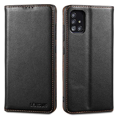 LENSUN Echtleder Hülle für Samsung Galaxy A51, Leder Handyhülle Magnetverschluss Kartenfach Handytasche kompatibel mit Samsung Galaxy A51(6,5 Zoll) – Schwarz(A51-DC-BK)