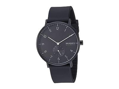 Skagen Aaren Kulor 41mm Three-Hand Silicone Watch (SKW6544 Black Silicone) Watches