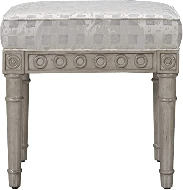 Jennifer Taylor Home Troy Upholstered Vanity Accent Stool, Silvery Check