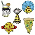 Cartoon Pins for Kids,Alien Spaceship Enamel Pins for Backpacks Cute Pins for Jackets Hat Enamel Pin Set for Bags UFO Lapel Pin Brooches (set 1)