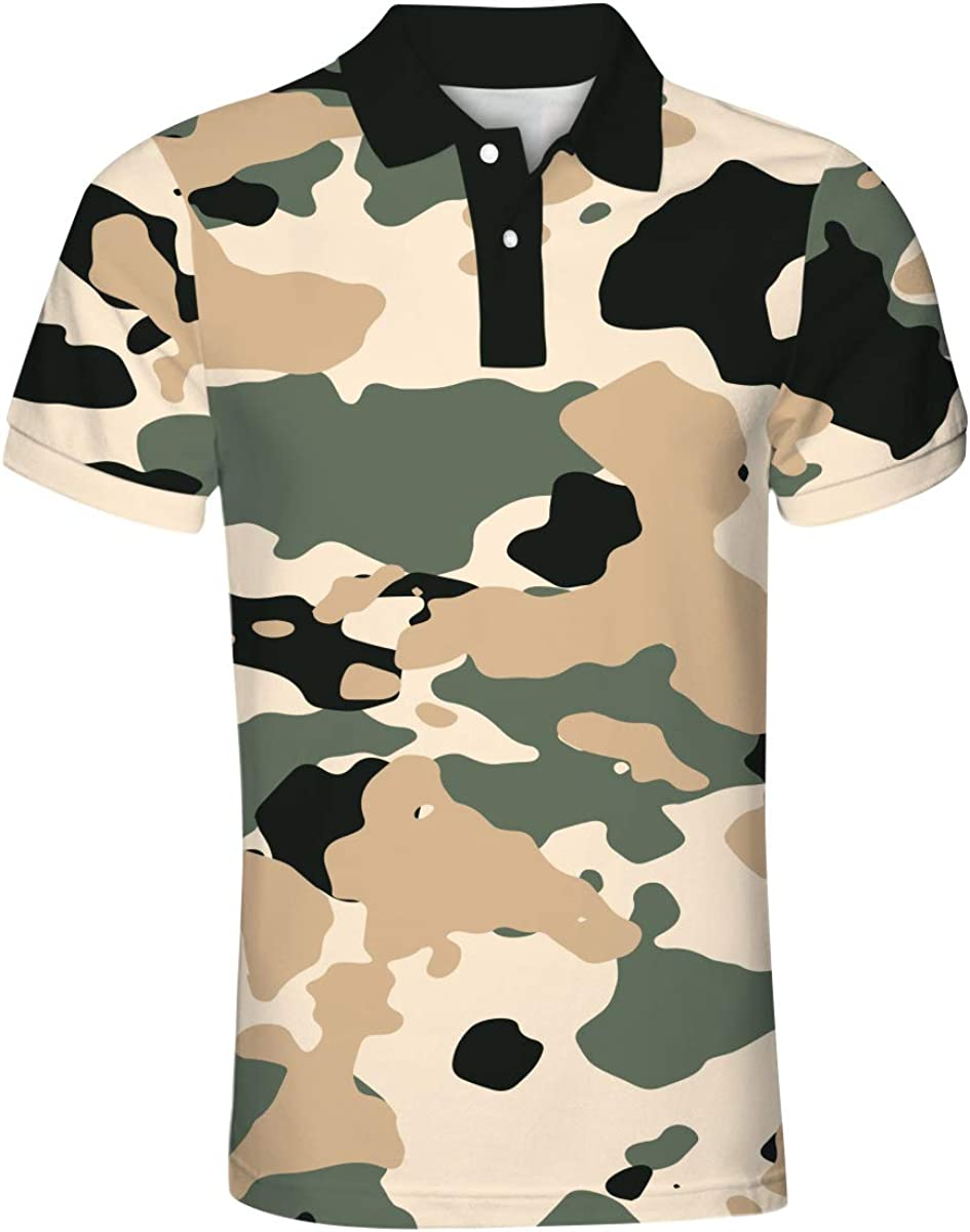Iynnijoy Mens Casual Camouflage Polo T Shirt Button Down Notched Lapel Short Sleeve Shirts