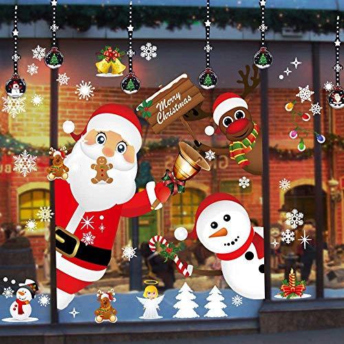 ZHOUZHOU Weihnachtsdeko Fenster,Weihnachten Fensterbilder Fenstersticker Fensteraufkleber,DIY Weihnachtsdeko Selbstklebend für Vitrinen Glasfronten Schaufenster Türen Deko