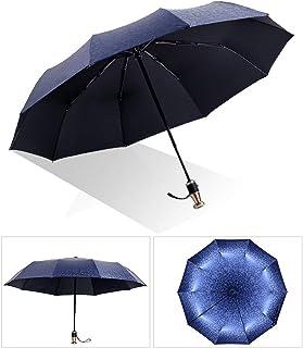 折りたたみ傘、傘、自動三つ折り傘、防風サン傘、メタルハンドル傘、ギフト包装、105 cm (Color : Blue)