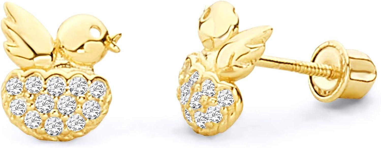 14k Yellow Gold Bird Stud Earrings with Screw Back