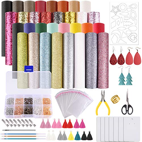 MIAHART Leather Earring Making Kit 32 pcs Faux Leather Sheets with Earring Hooks, Jump Rings, Templates, Tassels and Tools for Earring Making Supplies(6 x 8.3 inch)