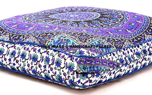 Oreiller de sol carré en forme d'éléphant psychédélique indien Mandala - Pouf - Lit de jour - Surdimensionné - Housse de coussin d'extérieur - Grand coussin de sol - 3535 cm