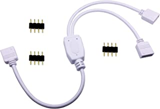 TronicsPros 4 Pin LED Splitter Cable RGB LED Strip Connector Y Splitter 2 Way Splitter for One to Two SMD 5050 3528 2835 R...