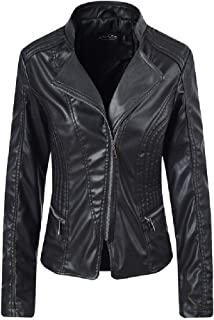 Howely Womens Embroidered Fold-Collar Slim Fit Zip Leather Trench Coat